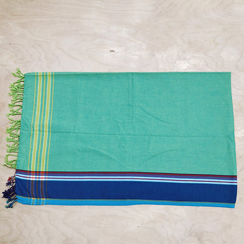 Cotton Kikoy in Spring Green/French Blue Border