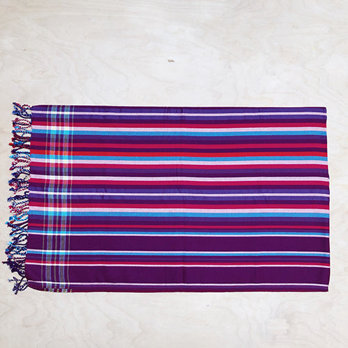 Cotton Kikoy in Purple/Magenta/Red/Turquoise Stripe