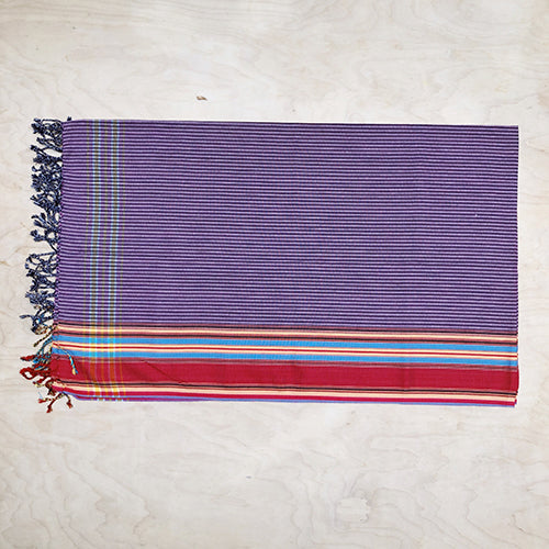 Cotton Kikoy in Violet Stripe Red Border