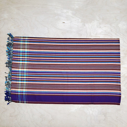 Cotton Kikoy in Yellow/Brown/Turquoise Stripe Purple Border