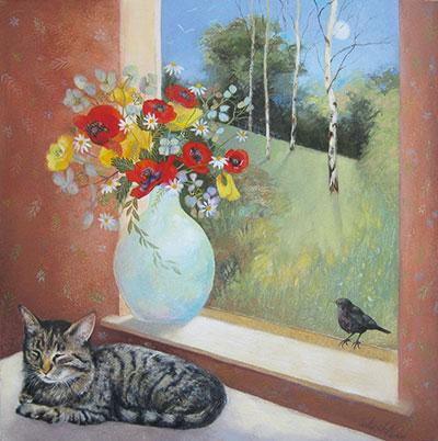 Windowsill in Summer by Lesley McLaren Greeting Card