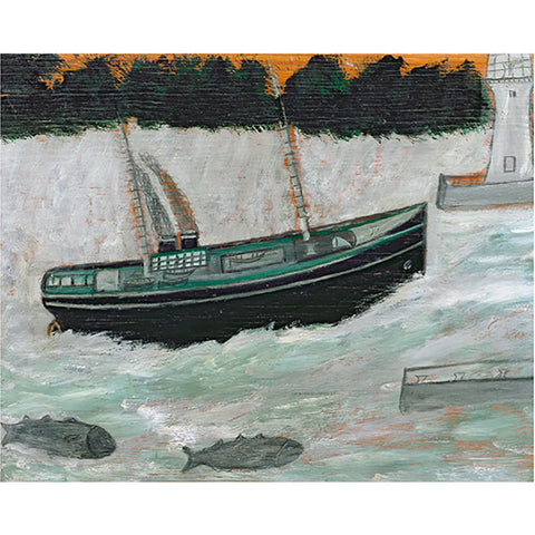 Lighthouse With Trawler And Fish By Alfred Wallis