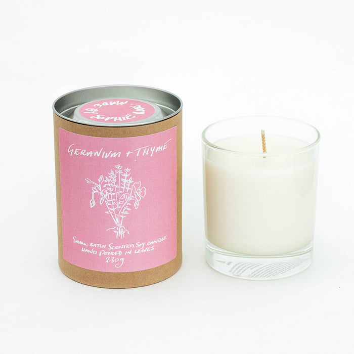 Geranium + Thyme Scented Soy Candle
