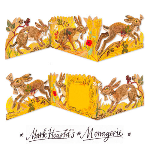 Mark Hearld's Menagerie Hares Die Cut Fold Out Greeting Card
