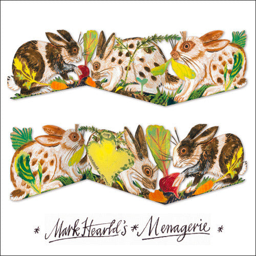 Mark Hearld's Menagerie Rabbits Die Cut Fold Out Greeting Card
