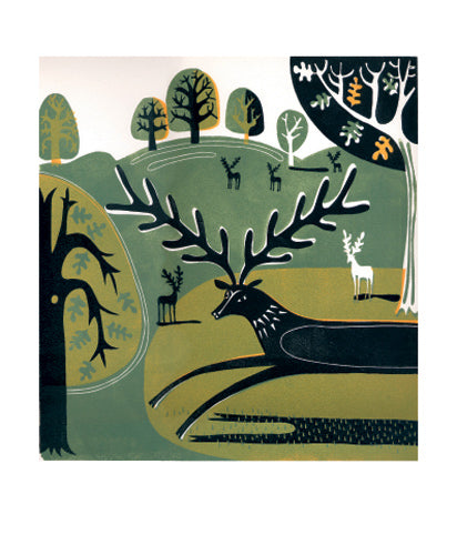 Stag in the Park by Melvyn Evans Greeting Card