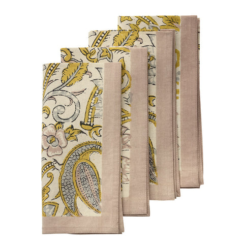 Set Of Four Peacock Curry Napkins