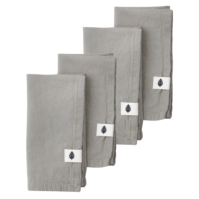 Set Of 4 Saara Stone Cotton Napkins