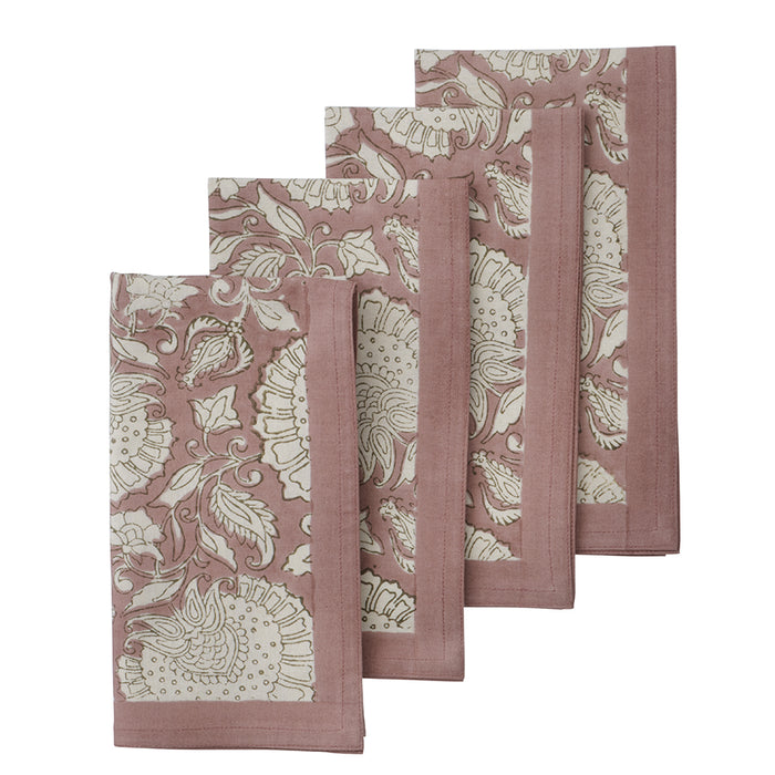 Set Of 4 Shimla Blush Napkins