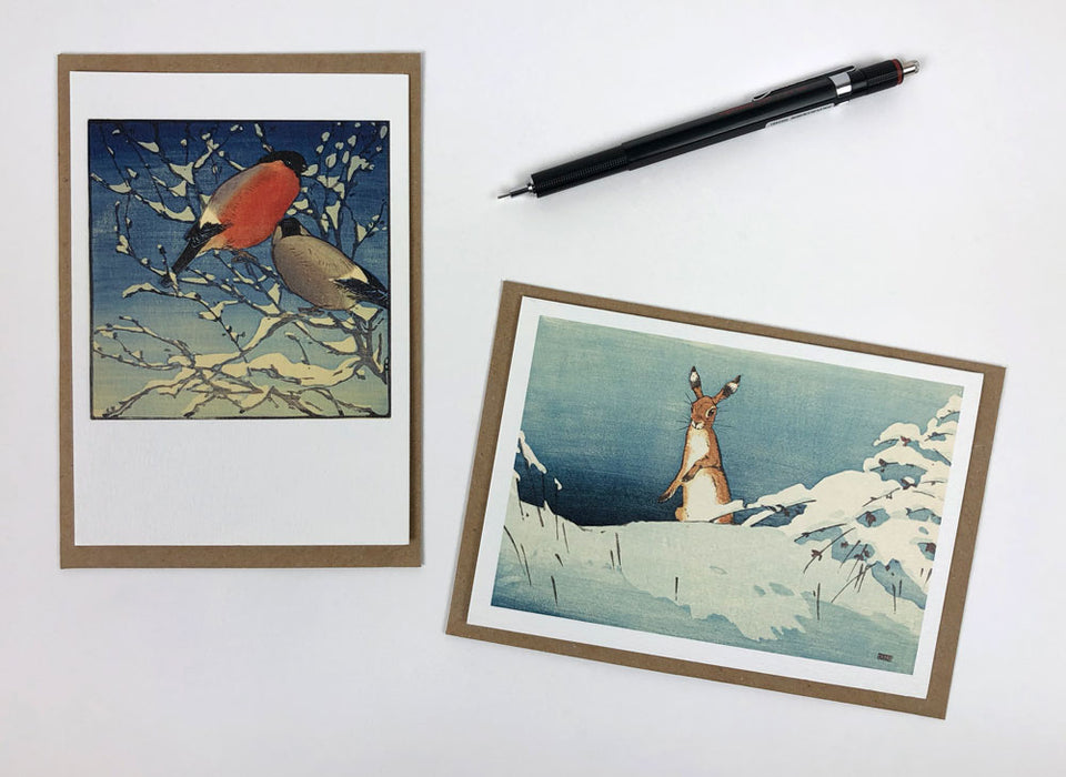 10 Notecards & Envelopes: Hare in Snow/Bullfinches by A W Seaby