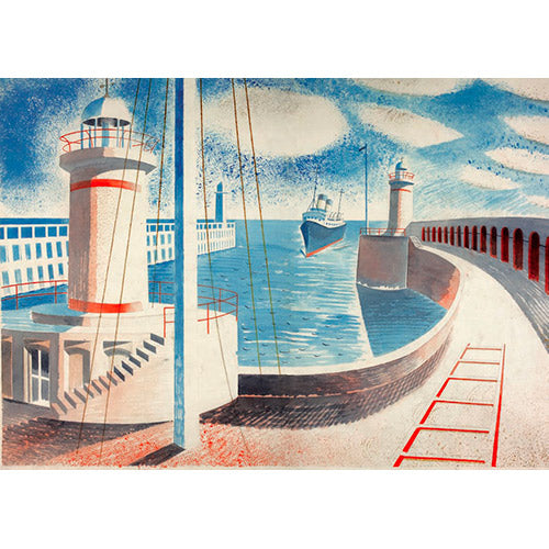 Newhaven Harbour By Eric Ravilious Greeting Card