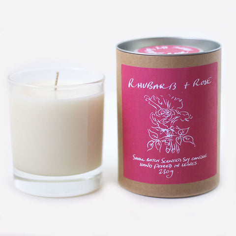 Rhubarb + Rose Scented Soy Candle