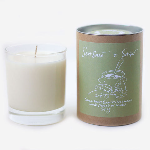 Sea Salt + Sage Scented Soy Candle