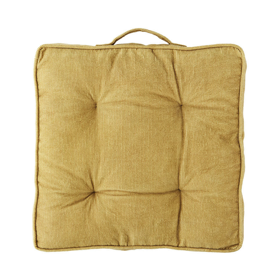 Corduroy Chair Pad in Ochre Yellow