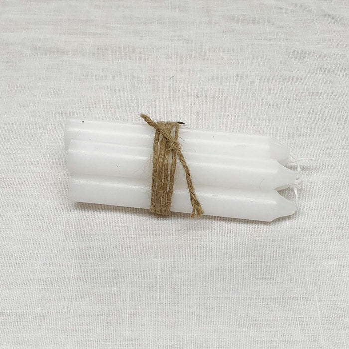 Bundle of 5 Short Dinner Candles in White