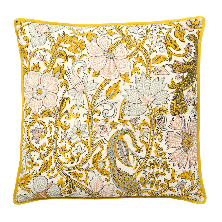 Peacock Curry Silk Cushion
