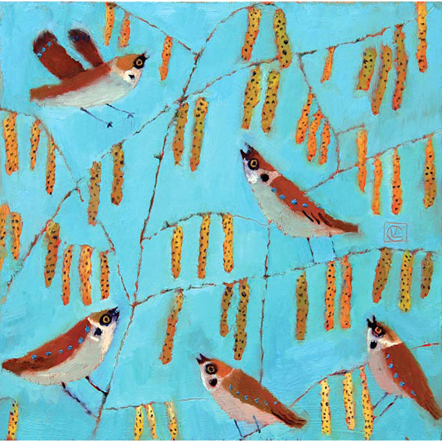 Sparrows And Catkins By Vanessa Cooper