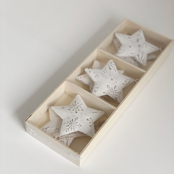 Painted Tin Star Christmas Decorations Box of 6