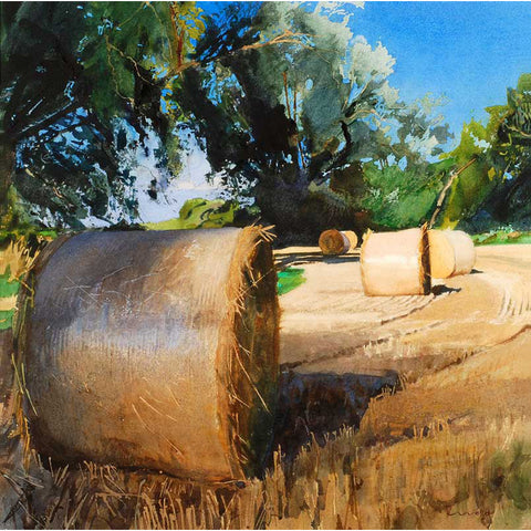 Straw Bales And Willows By Bob Rudd