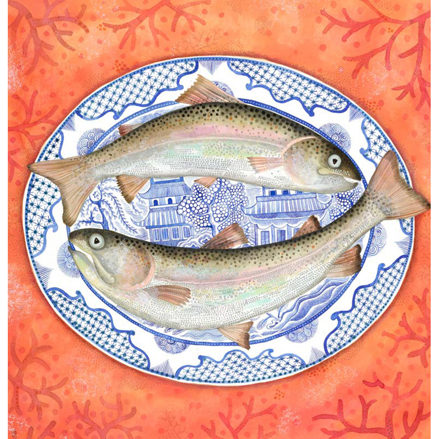 Trout and Willow Pattern By Jane Ray