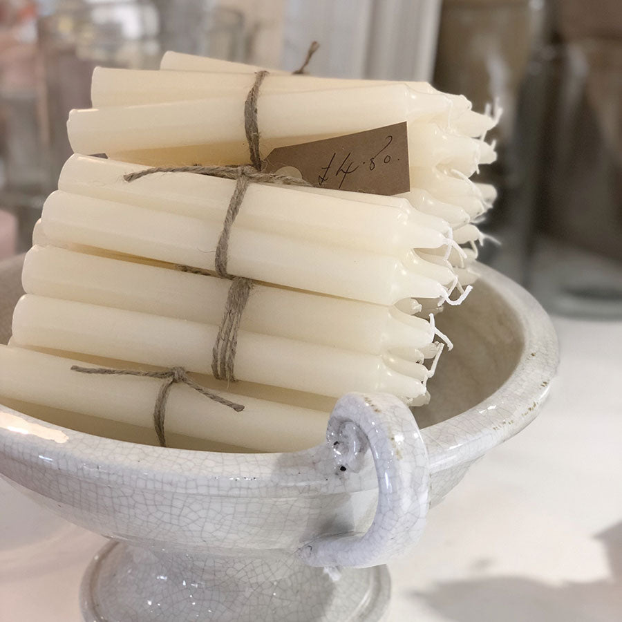 Bundle of 4 Ivory Dinner Candles