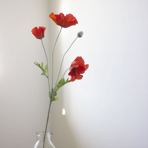 Faux Red Poppy Spray