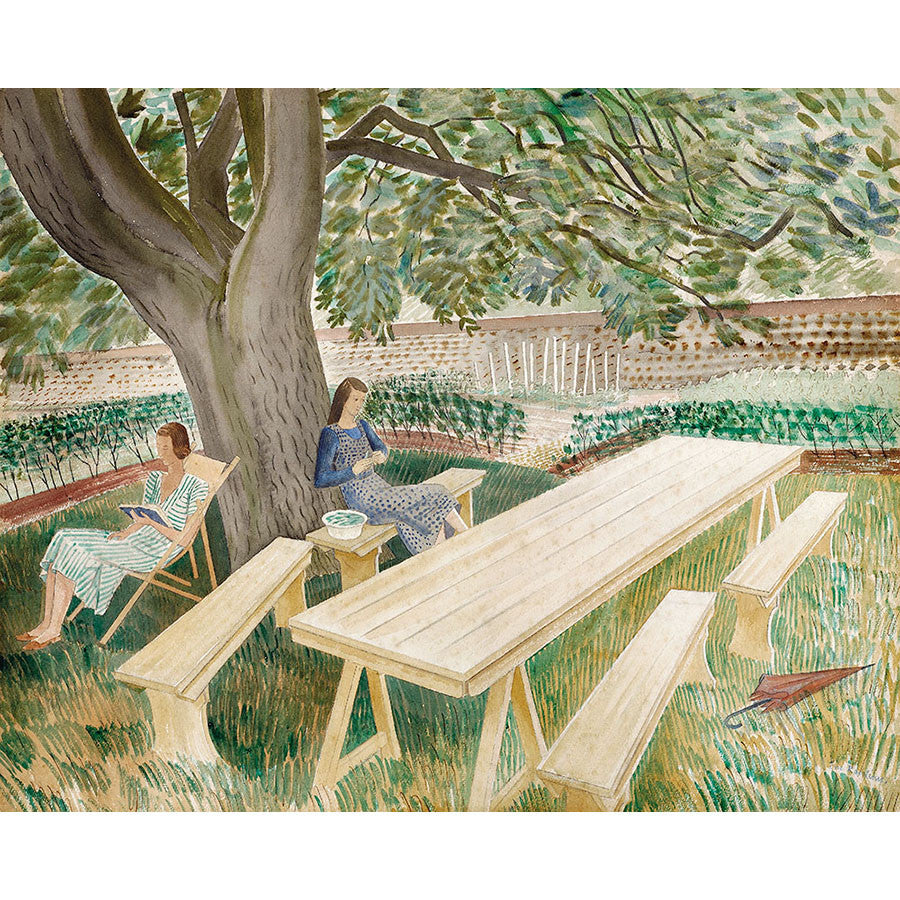 Two Women In A Garden By Eric Ravilious