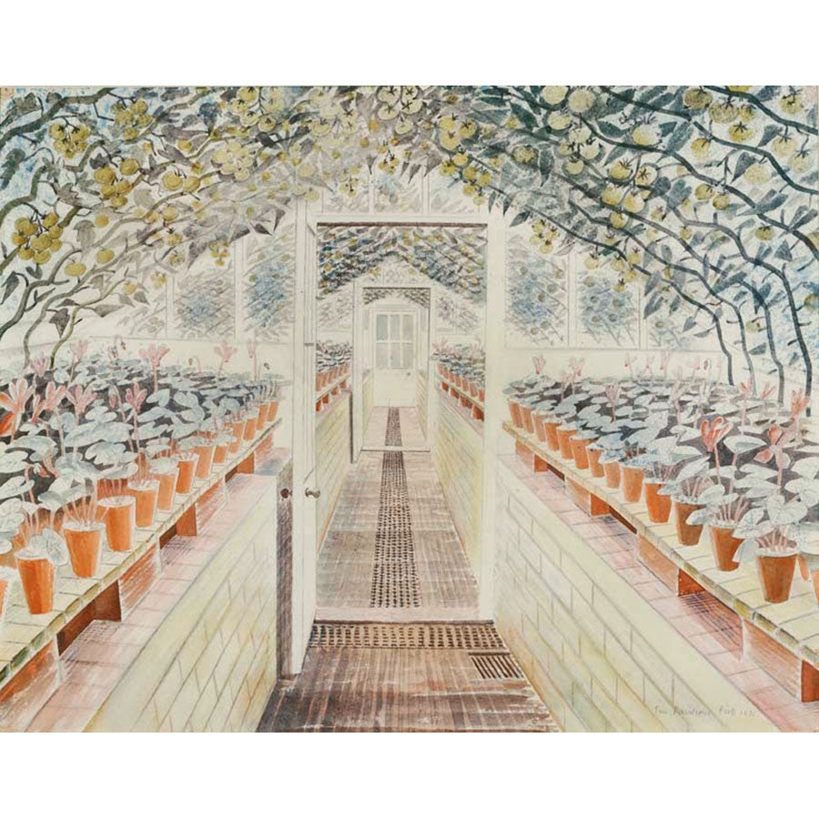 The Greenhouse, Tomatoes and Cyclamens By Eric Ravilious