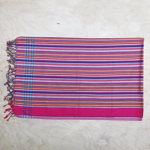 Cotton Kikoy in Hot Pink/Multi Fine Stripe