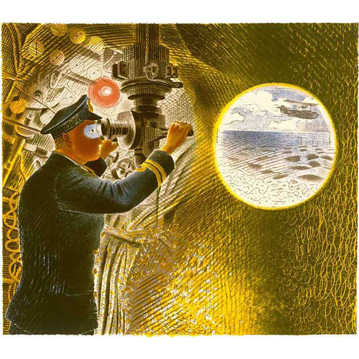 Commander Of A Submarine Looking Through A Periscope (1941) By Eric Ravilious