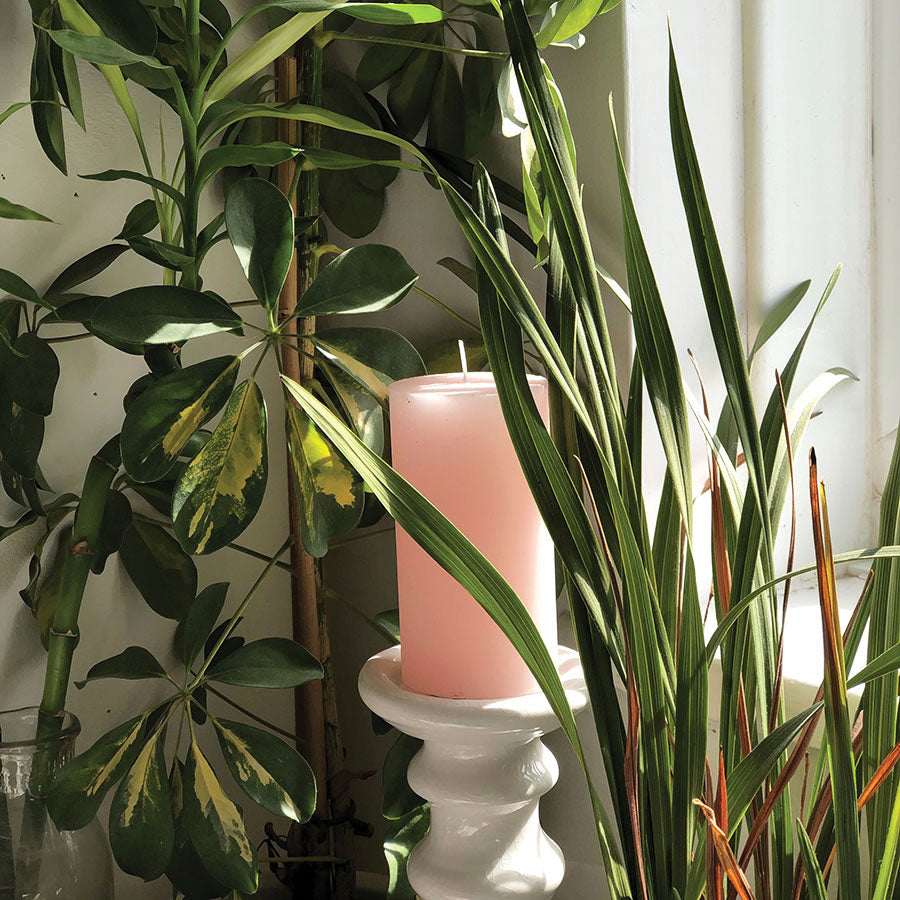 Hand Poured Small Pink Pillar Candle