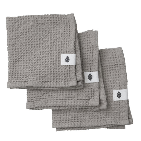 Waffle Stone Grey Cotton Cloths x3