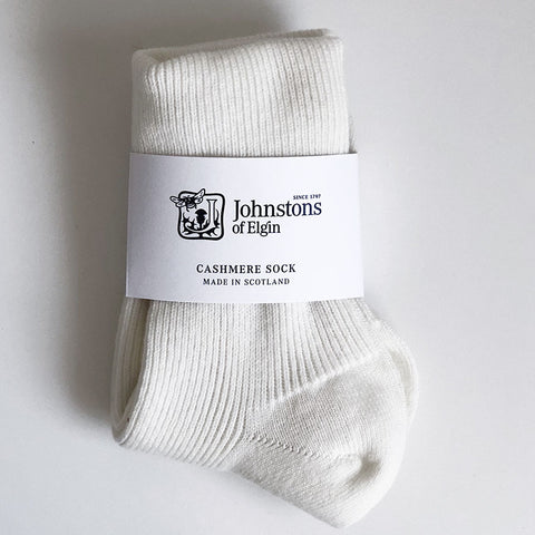 Women's Cashmere Socks in White