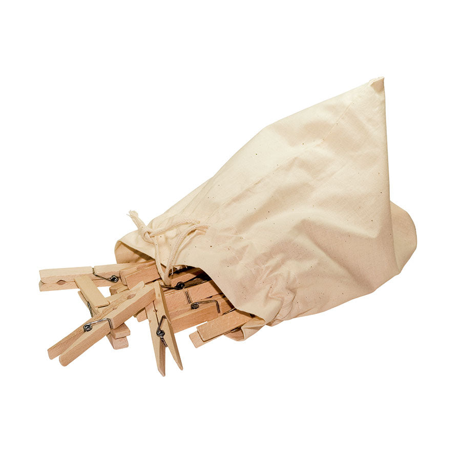 Wooden Clothes Pegs in Cotton Drawstring Bag