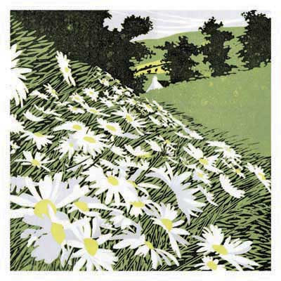 Daisy Bank by Ros Garratt Greeting Card