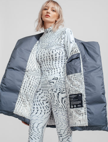 Quilted white midi coat