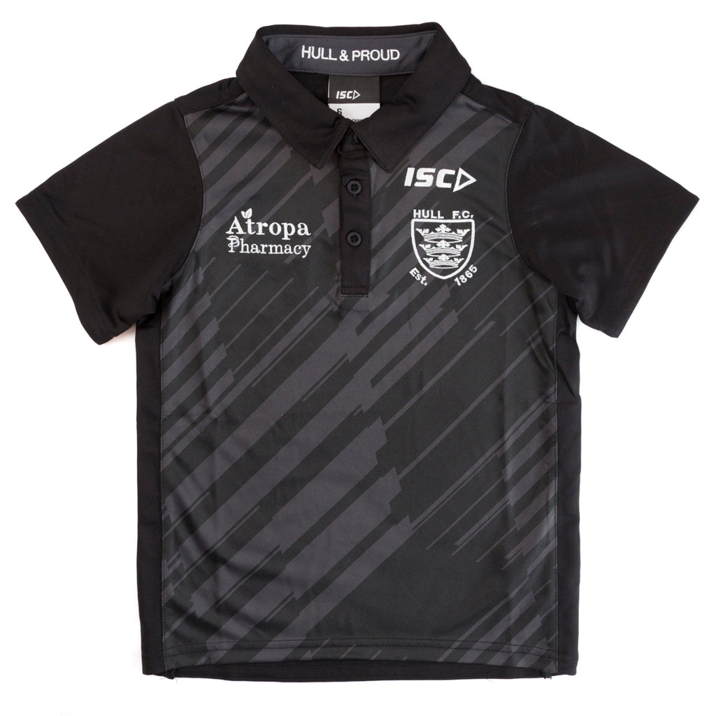 2020 Kids Black/Cool Grey Striped polo
