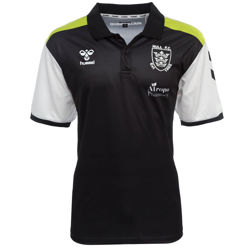 Kids Elite Polo Black Neon Strip