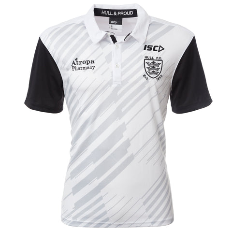 2020 Ladies White/Cool Grey Striped Polo