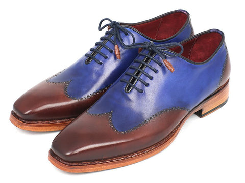 PAUL PARKMAN MEN'S WINGTIP OXFORD GOODYEAR WELTED BLUE & BROWN