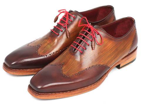 PAUL PARKMAN MEN'S WINGTIP OXFORD GOODYEAR WELTED BROWN & CAMEL