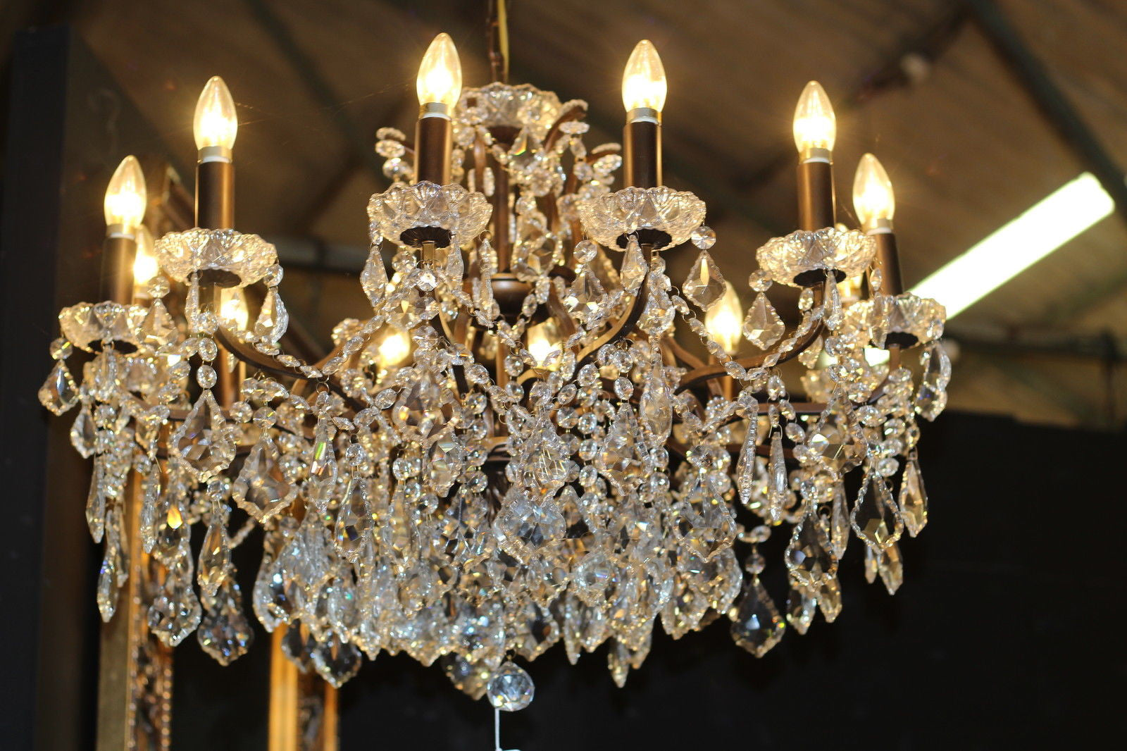 Ladonna 12 branch large shallow crystal glass chandelier with 12 branch large shallow crystal glass chandelier with antique bronze frame aloadofball Choice Image
