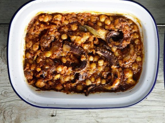 Baked  Chickpeas with Octopus and Tomato Sauce