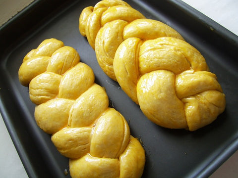 Tsoureki (Greek Easter sweet bread) with olive oil, orange and vanilla