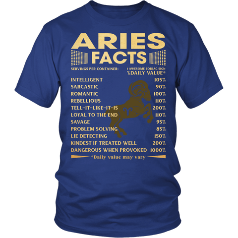 Zodiac Thing - Zodiac Tee: T-shirt - 1 Aries Facts T-shirt
