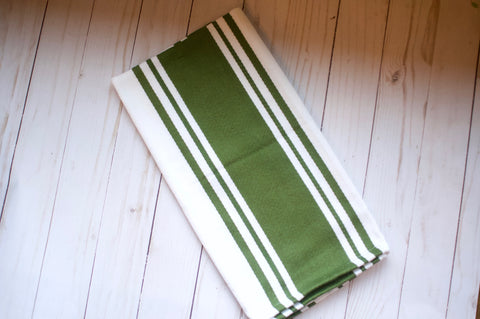 Olive and White Dish Towel