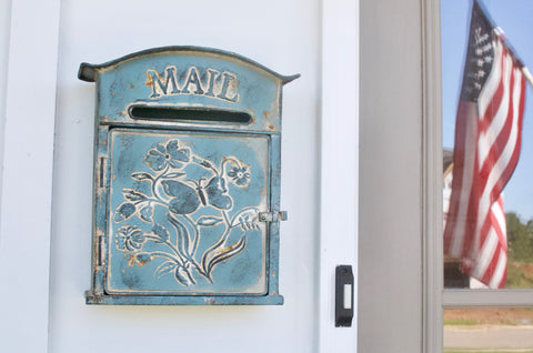 Blue Tin Letter Box