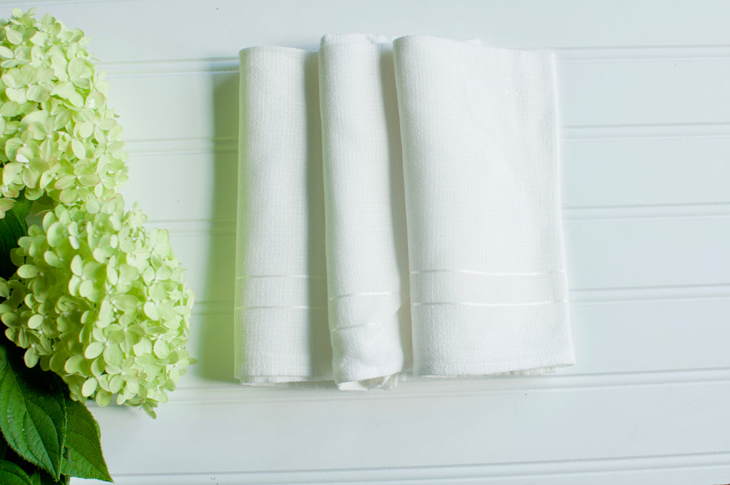 Warm White Stripe Vintage Napkin