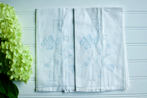 Blue Embroidered Vintage Hand Towel Pair