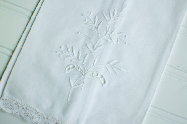 White on White Vintage Hand Towel